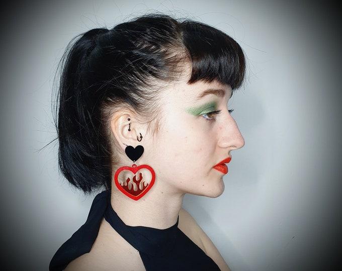 Oversized Statement Acrylic Flame Heart  Earrings  pierced ears