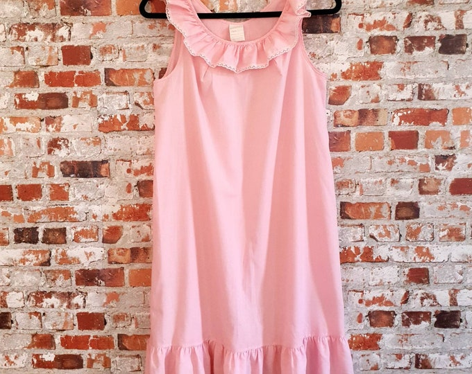Pretty Vintage 1970s Baby Pink Baby Doll Midi Length Nightdress with Lace Trim Ruffle Collar and Hem  by Kaiser M