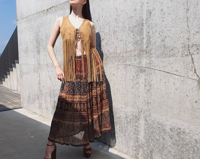 Vintage Deadstock 1970s 1980s  Semi Sheer Indian Cotton Gauze Hippie Boho Drawstring Waist with Bells Skirt One Size S M L