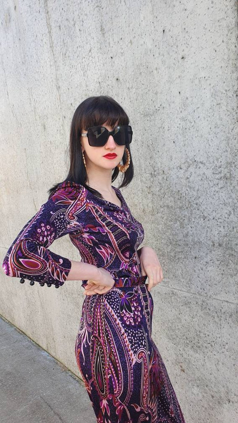 M L Vintage 70s 1970s Black and Purple Psychedelic Pucci Esque Print Slinky Polyester Jersey Eastex Belted Long Slv Maxi Dress