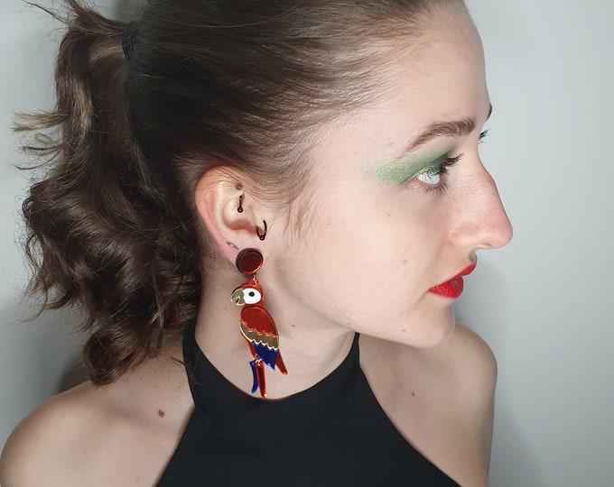 Beautiful Metallic Laser Cut Acrylic Parrot Earrings Brand New