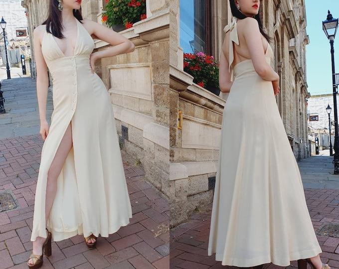 Vintage 70's Ossie Clark Cream Halterneck Radley Maxi Dress Plunge Bust Low Back Open Leg Button up Front Wedding Dress S M