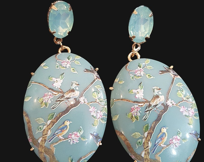 Pretty Statement  Baby Blue Dangly Drop Earrings with Blue Jewel Stud and Blossom Bird detail  NEW