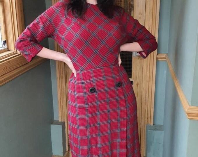 Vintage VTG  1960s 60s Jack Mann Red and Black Brushed Cotton Plaid  Wiggle Dress S M