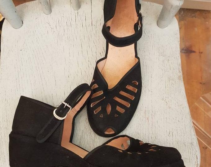 Original vintage 40s 1940s CC41 Black Suede Peep Toe Shoes UK 7 Utility Mark