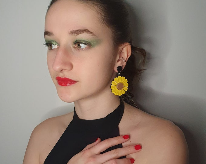 Oversized Acrylic 1960s Style  Sunflower Earrings for pierced ears. LgBT Pride