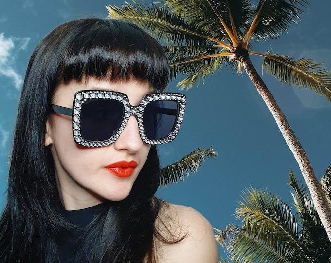 Oversized Diamonte Effect Square Sunglasses Black Brand New