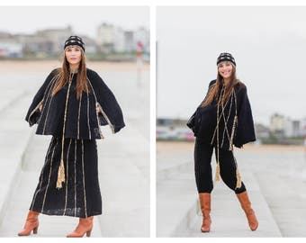 Vintage  1970s 70's 4 Piece British Boutique London Mary Farrin Knitted Poncho Maxi Skirt Pantaloons and Hat Ensemble