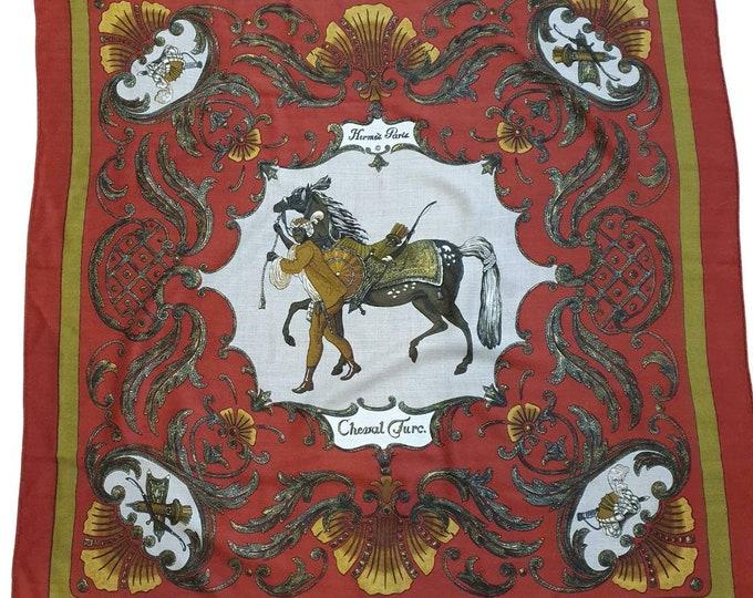 Vintage 1960s 60s RARE Hermes Cheval Turc Turkish Horse Christiane Vauzelles Cashmere Silk Scarf 36 x 36 Deep Red Rolled Edges