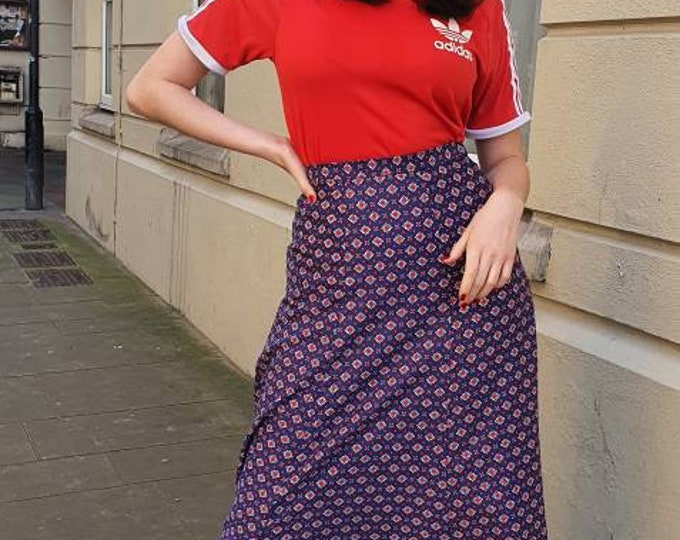 Vintage 1970s 70s  St Michael Blue, Red and White Geometric print Cotton Maxi Skirt XS