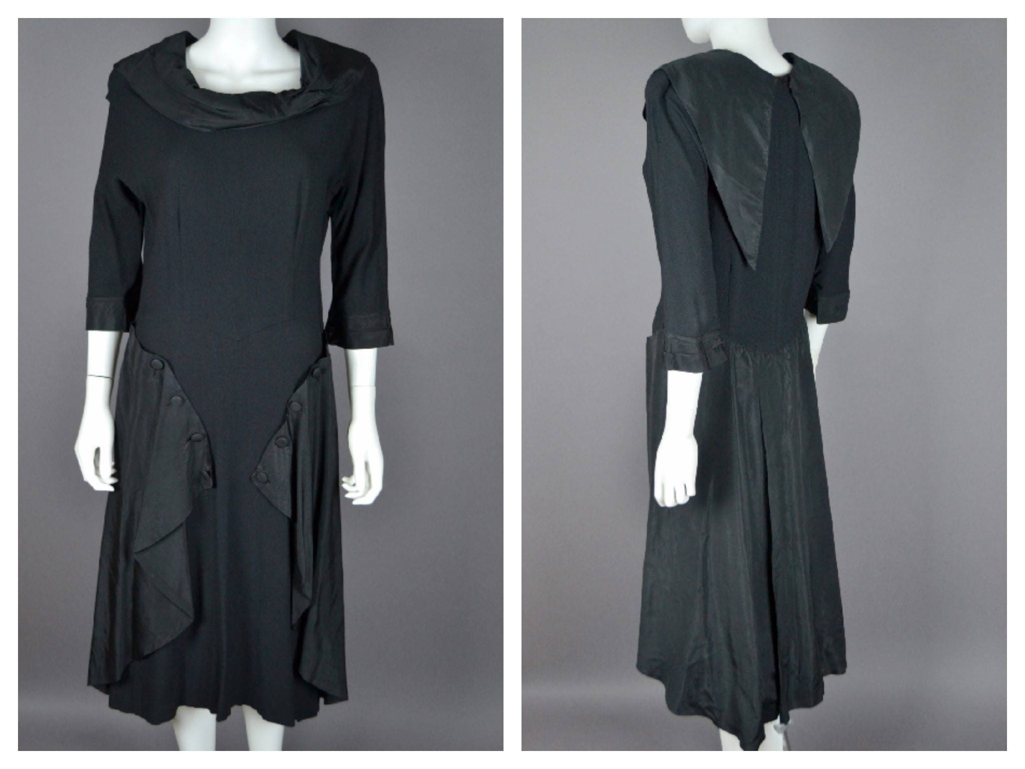 e0c5aac81d Vintage Black 1940's 40s Beverly Dale LBD Moss Crepe Coctail DRess with  Statement Skirt M L