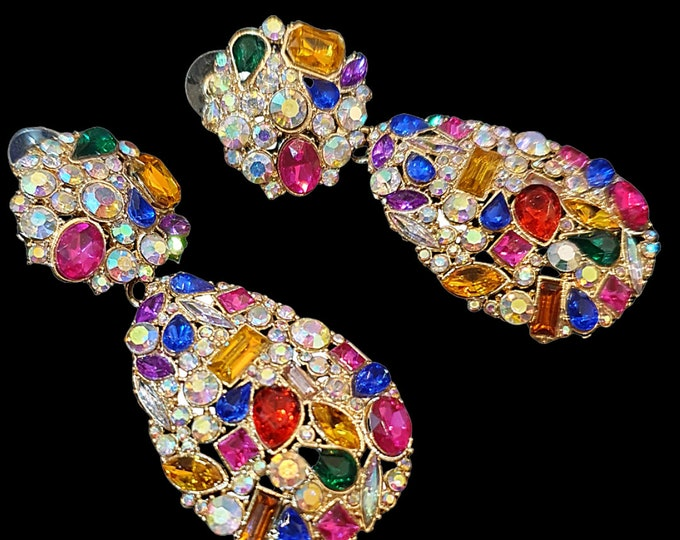 NEW 90s Designer STYLE Multi Colour Stone  Tear Drop  Girly Jewel Encrusted Statement Earrings for Pierced Ears
