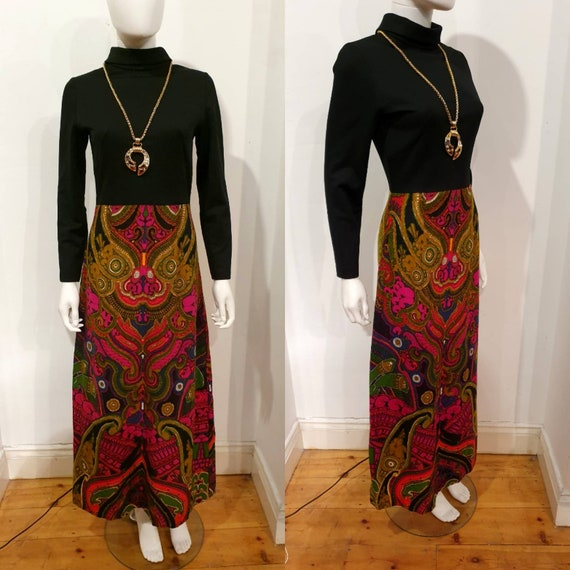 Vintage 1970s 70s Psychedelic Psych Maxi Hostess D