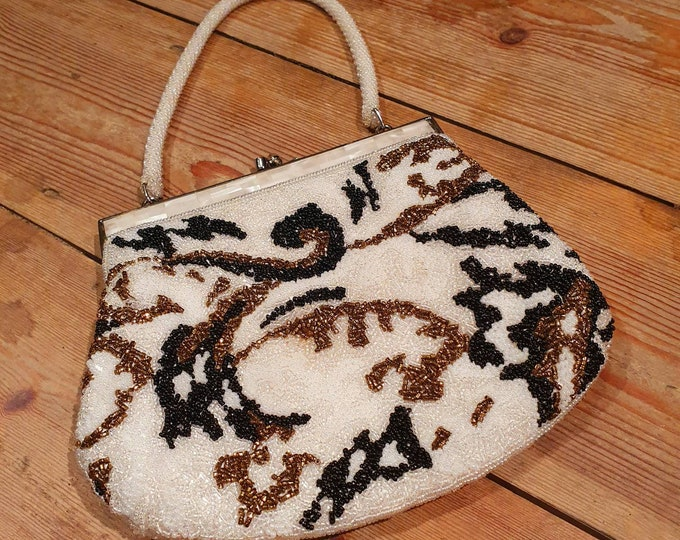 Beautiful Black and White Unusual Vintage 1950s Beaded and MOP evening bag Purse Handbag