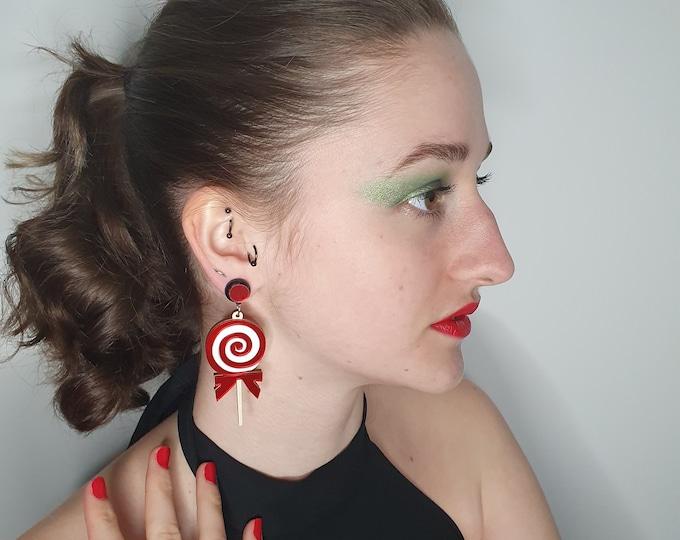 Super Cute Christmas Lollipop Statement Earrings for pierced ears.