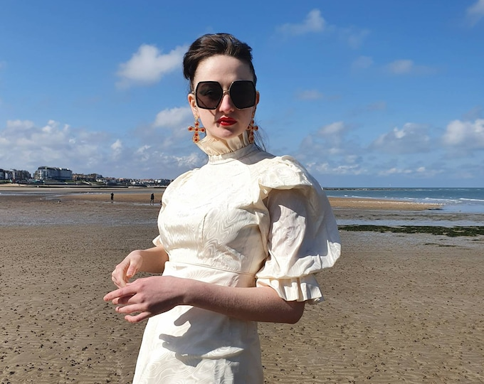 Beautiful Vintage 1970s 70s Frilly Cream Susan Small High Neck Moire Puff Sleeve Prairie Maxi Wedding Dress S UK 8