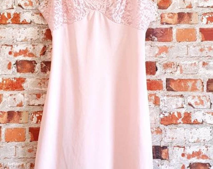 Sexy and Unusual Vintage 1970s Baby Pink Lace Trim Slip With peekaboo bust and Back By Keiser 70s 36 Bust