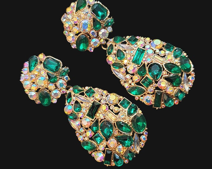 NEW 90s Designer STYLE Green and Multi Colour Stone  Tear Drop  Girly Jewel Encrusted Statement Earrings for Pierced Ears