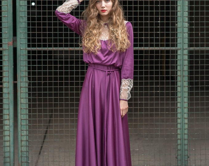 Vintage Purple Slinky Drapey Lace Trim 70s Victoriana MaxiBelted  Dress Vtg 1970s S M 10 12
