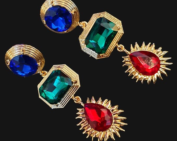 NEW 90s Designer STYLE Chunky Red Green and Blue  Stone Drop Earrings for Pierced Ears