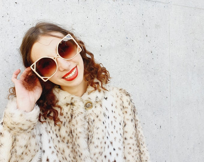 Vintage 1970s style oversized Beige sunglasses with Square Art Deco style Frames