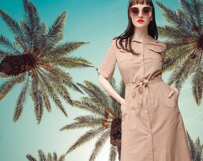 Vintage 70s 80s Safari YSL-Style Caramel Beige  Button Down Shirt Dress M Pockets