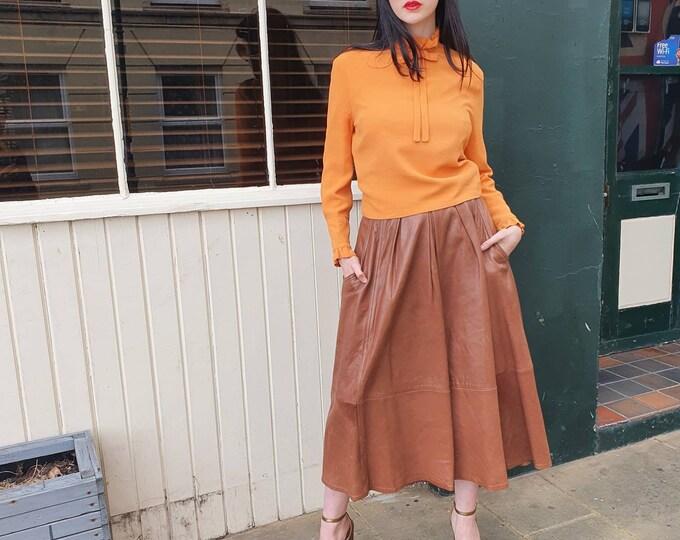 RARE Vintage 1960s 60s Mary Quant Long Sleeve Orange Moss High Pie Crust Neck Crepe Blouse Top M