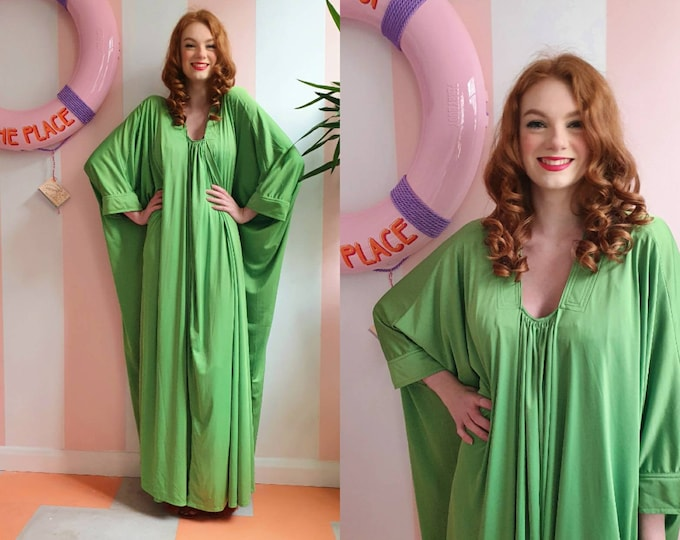 Incredible Vintage 1970s 70s YUKI for Rembrant  Lime Acid Green Grecian Drapey Maxi Dress Kaftan S M