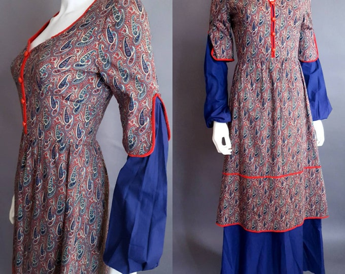 Vintage 1970s Maxi Dress | Cotton Prairie Style | by Wallis | Milk Maid Paisley Print | Bishop Sleeves | UK 8 S
