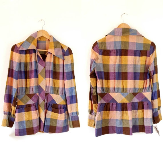 Unusual vintage 1970s Raw Silk Button Up Top Tailo