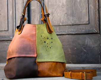 Oversized Duffle Purse Tote Bag Woman Original Leather Alicja whiskey shoulder customizable handbag hobo vintage style unique ladybuq gift