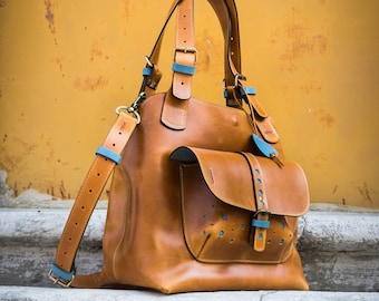4a6811bbd0070 Mother s Day Gift Personalized Unique Leather Ladybuq Art Alicja Camel Bag  With Long Detachable Strap Office Laptop Everyday Tote handmade