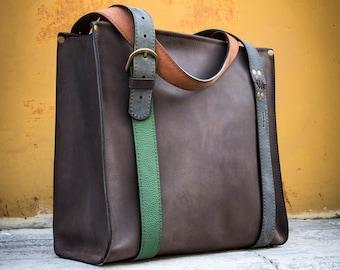 ec364c709e0 Brown oversize tote bag, travel bag made by ladybuq, designer bag,  customizable tote bag, handmade natural leather purse vintage laptop bag