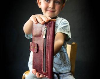 Woman handmade wallet leather portable checkbook