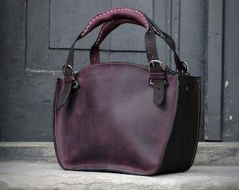 Leather Shoulder Bag with Clutch Set ladybuq office bag black and plum natural leather vintage style shoulder bag women tote unique handbag
