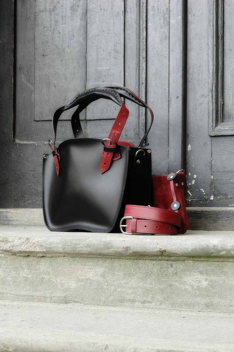 0ea34fa4bf8b55 Bag Leather handmade Shoulder Bag with Clutch Set Kuferek | Etsy