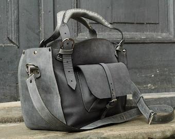Ladybuq Art Bag handmade handbag leather Tote gray color tote with crossbody strap original stylish purse comfortable unique and roomy purse