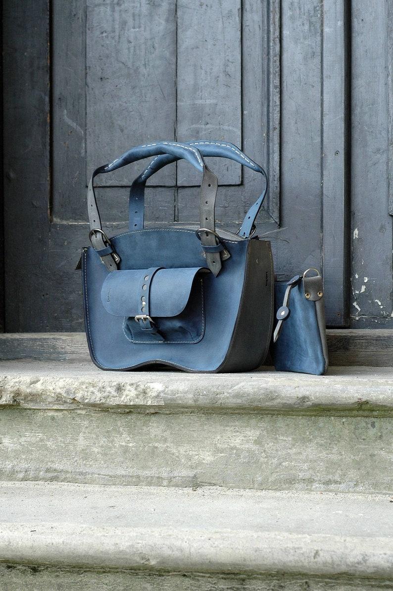 6c67ee20ea1fcc Handmade Leather tote bag Kuferek Ultimate Edition navy Blue | Etsy