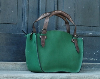 Handmade leather woman handbag with clutch Ladybuq green Tote bag green stronh handmade tote bag high quality leather brown limited handbag