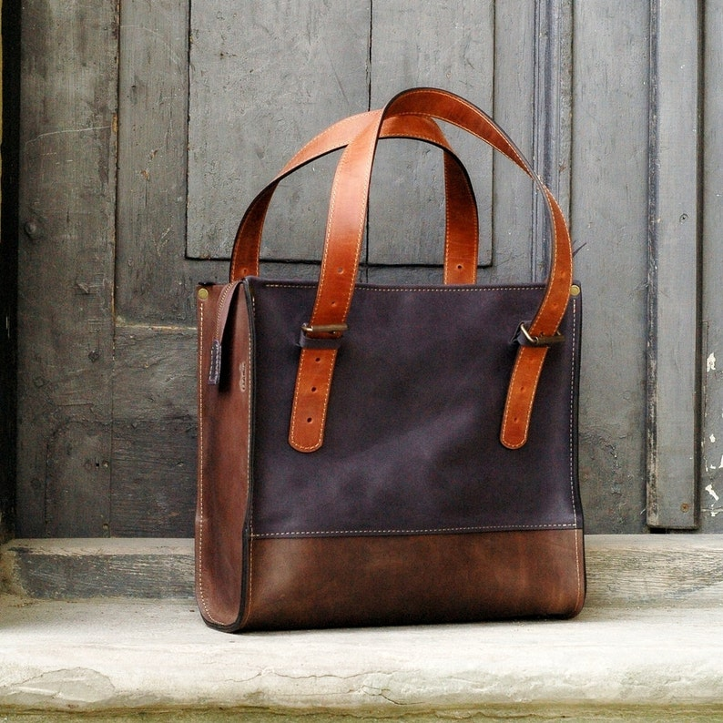 leather tote leather laptop bag large leather tote bagbrown image 0