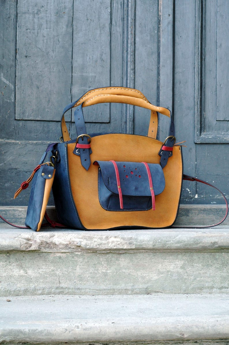 e730f60d3d288e Leather Shoulder Bag with Clutch Set handmade bag ladybuq Tote | Etsy