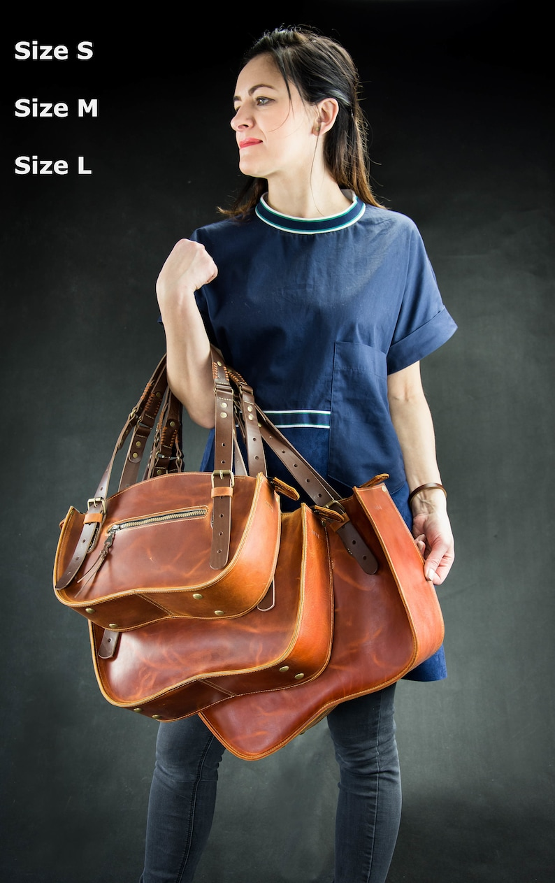 Leather Tote Shoulder Bag Women Purse Original and Unique Handbag made from full grain leather Handmade roomy bag in vintage style Gifts