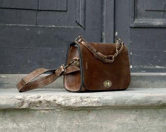 Handmade unique leather bag/purse/ELLA brown bag