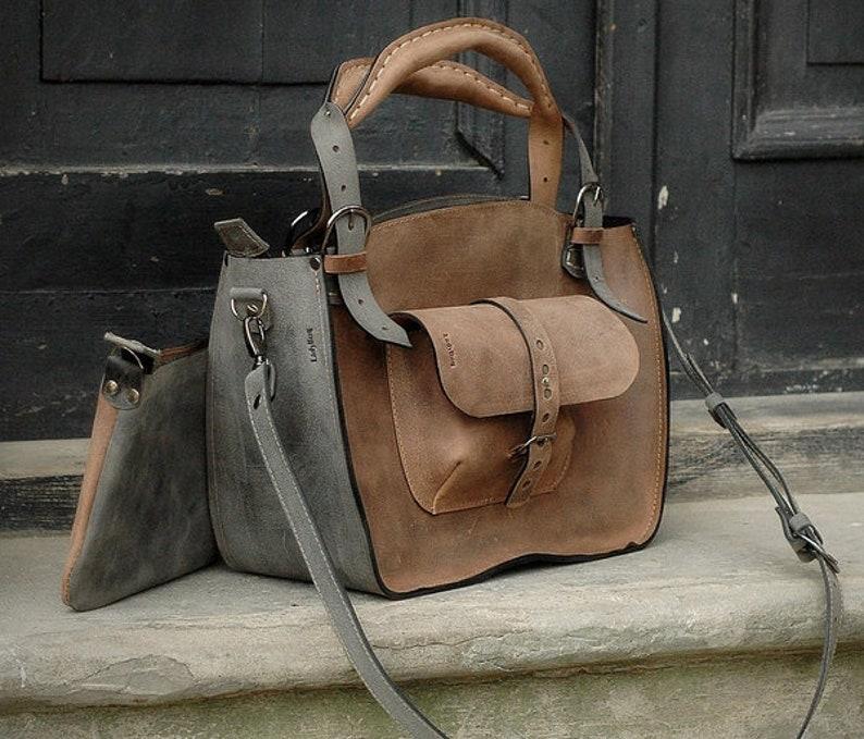 b46860720c219e Leather Shoulder Bag with Clutch laptop bag handbag handmade | Etsy