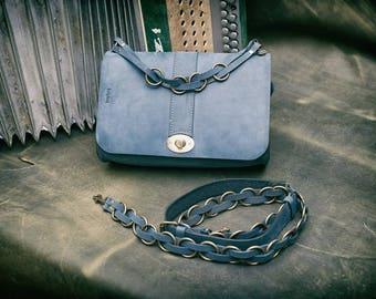 Handmade unique leather bag/purse/ELLA navy blue bag
