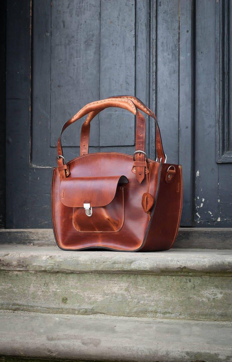 e200ba3f571102 Leather handmade Shoulder Bag with Clutch long strap ginger | Etsy