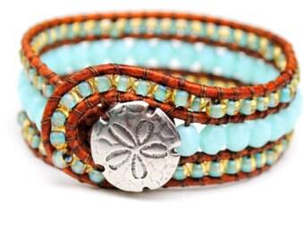 Beachy Leather Cuff  Bracelet With Sand Dollar Button, Pale Blue, Aqua, Surfer Girl, Island Style,Summer, Beach Jewelry, Beach Chic