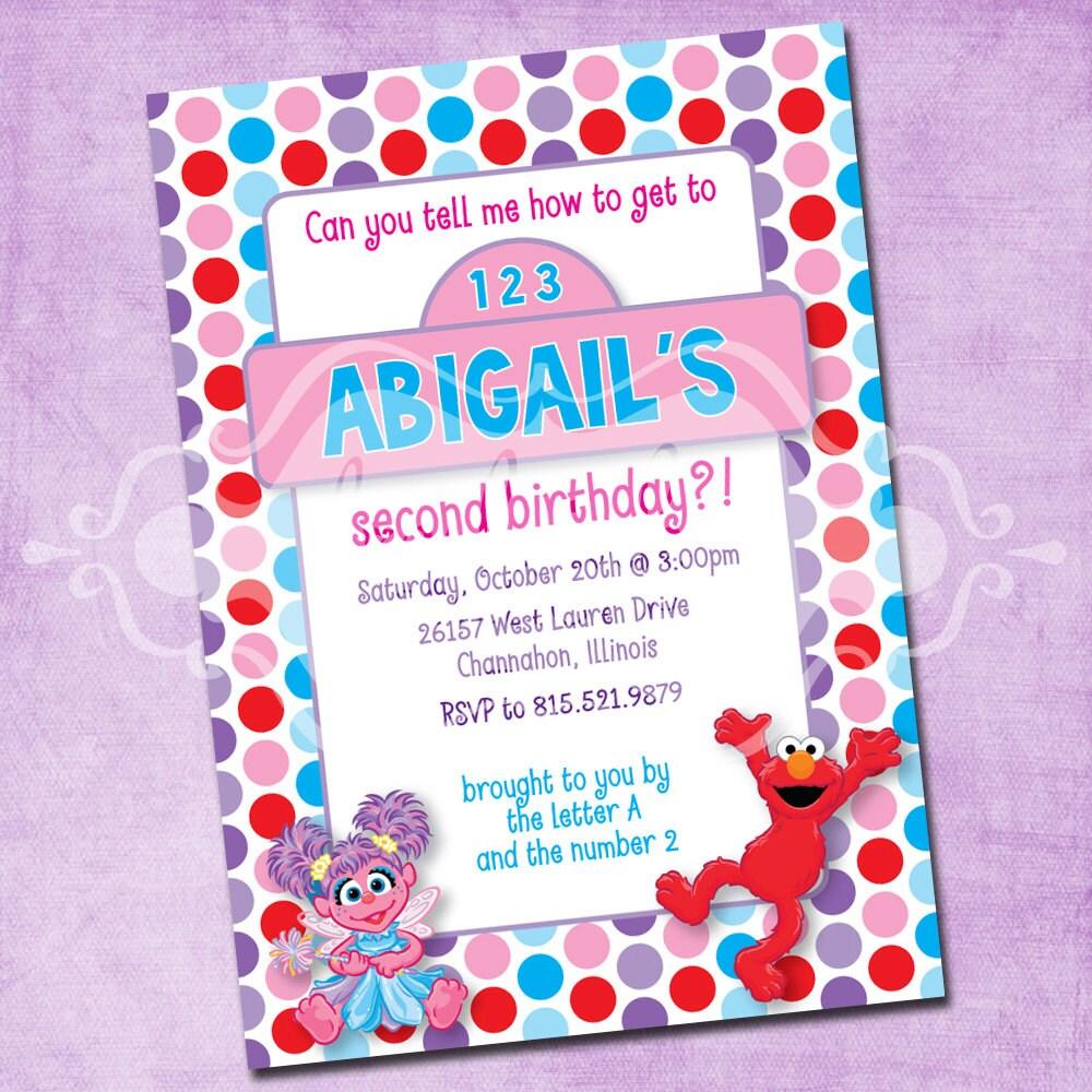 Elmo And Abby Birthday Party Invitation