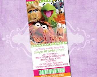 The Muppets Movie Ticket Birthday Invitation