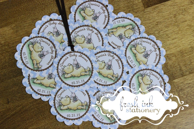 Classic Pooh Blue Chevron Personalized Favor Tags